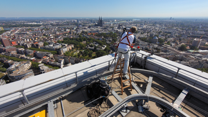Michael von Aichberger while taking a gigapixel image from KölnTurm, Cologne, Germany